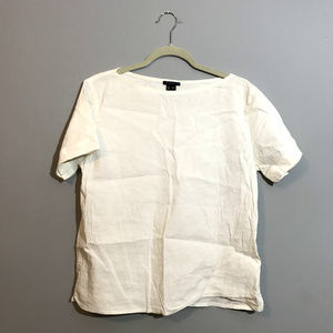 Theory Top Size Medium White Short Sleeve Linen